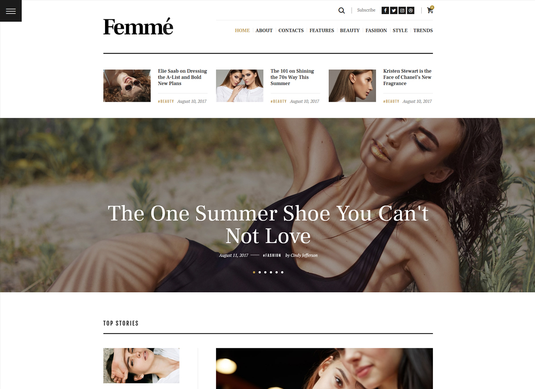 Femme - An Online Magazine & Fashion Blog WordPress Theme