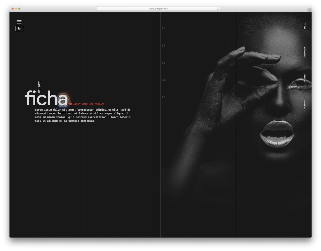 ficha adobe muse template