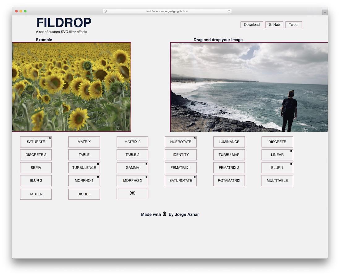 fildrop svg filters tool