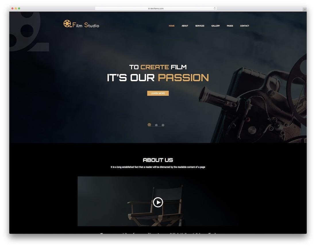 film studio video website template