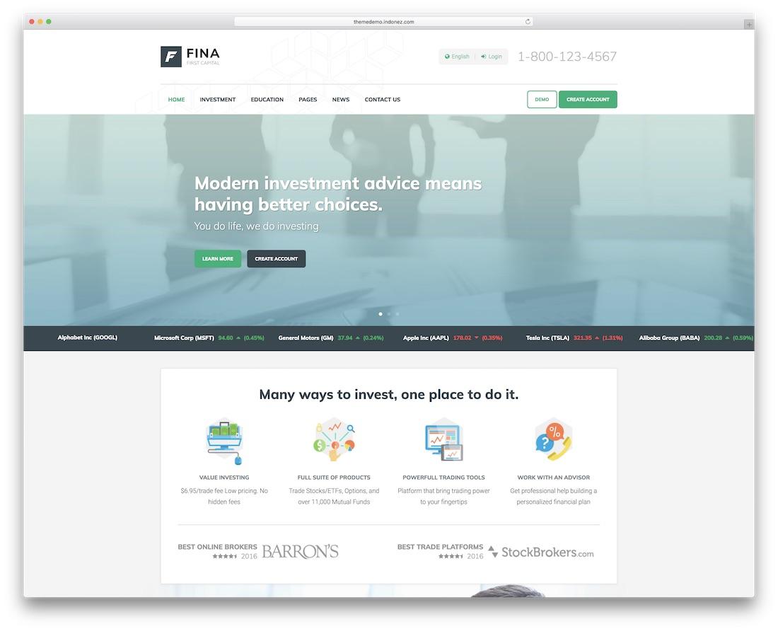 fina business financial website template