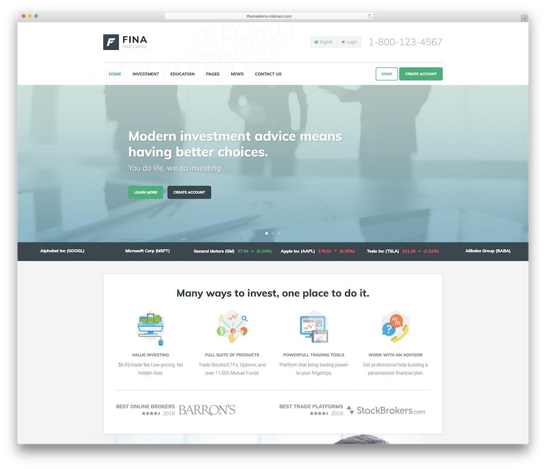 fina business website template