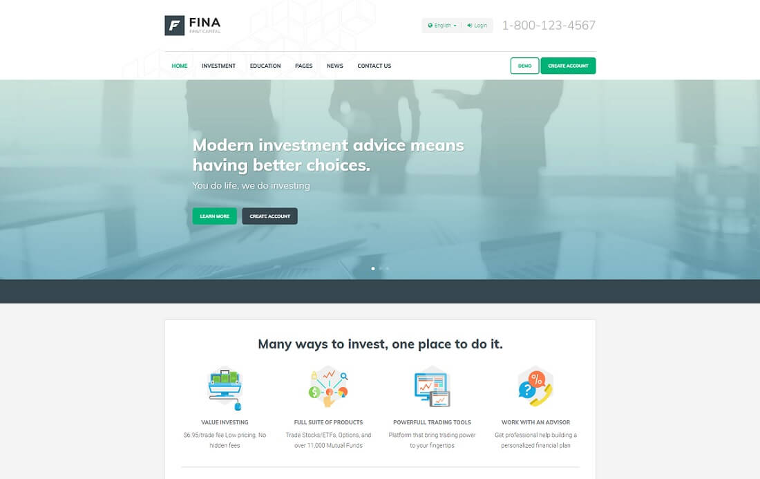 fina cryptocurrency website template