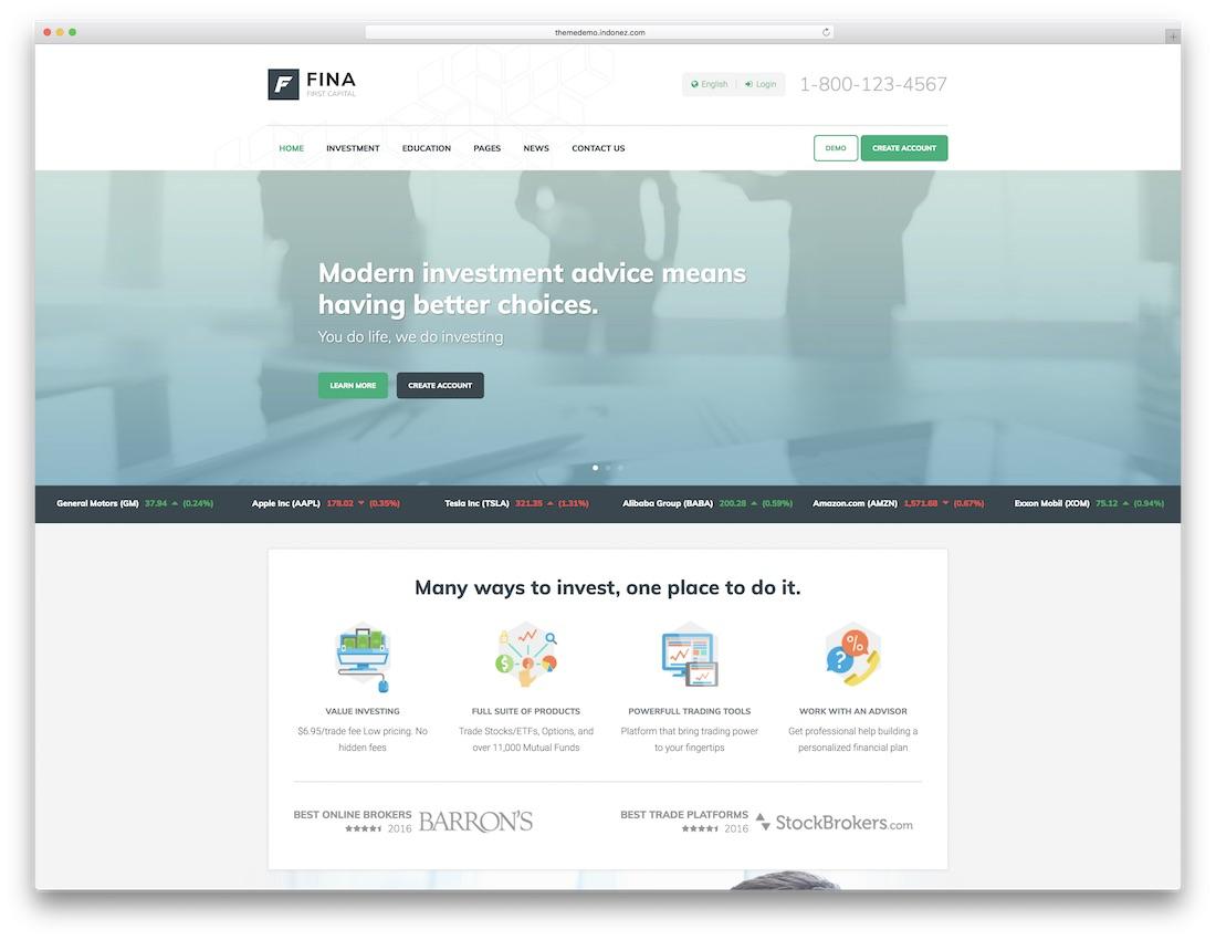 fina website template