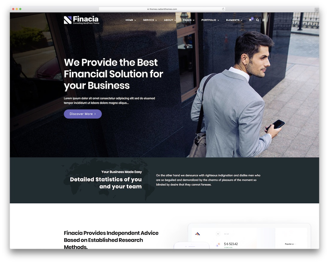 finacia financial company wordpress theme