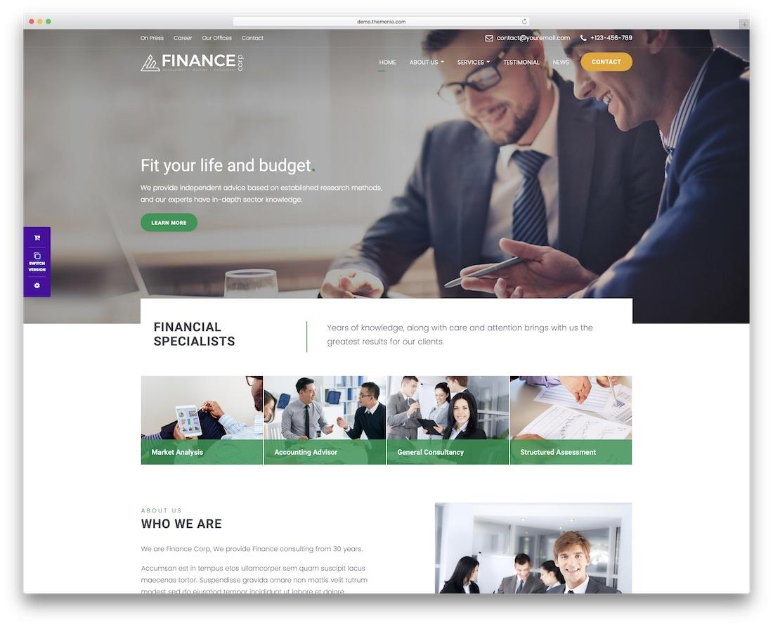 finance corp website template