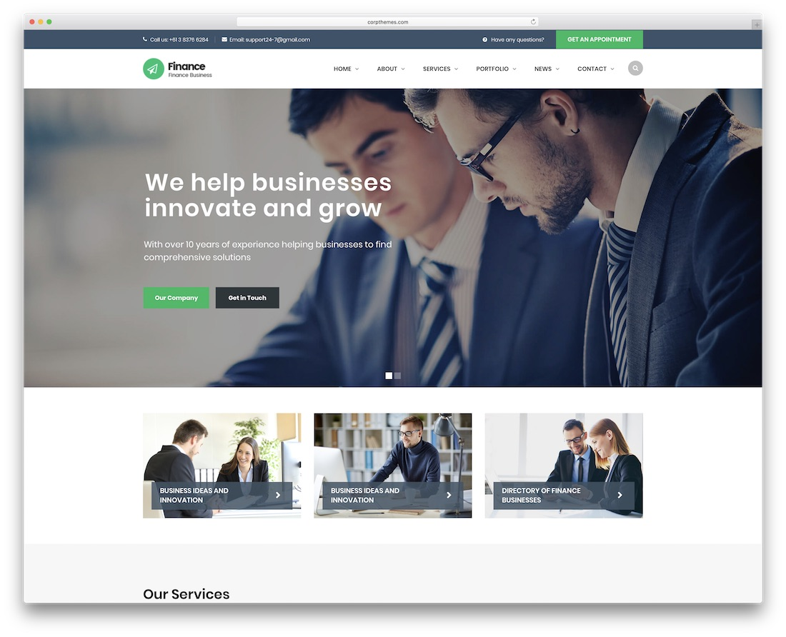 finance website template