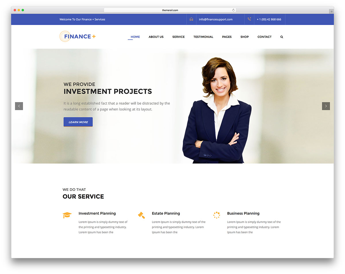 20 best business consulting wordpress themes 2018 colorlib financeplus is a reliable and responsive wordpress corporate business and finance website theme this theme is a resourceful tool for corporate webmasters flashek Choice Image