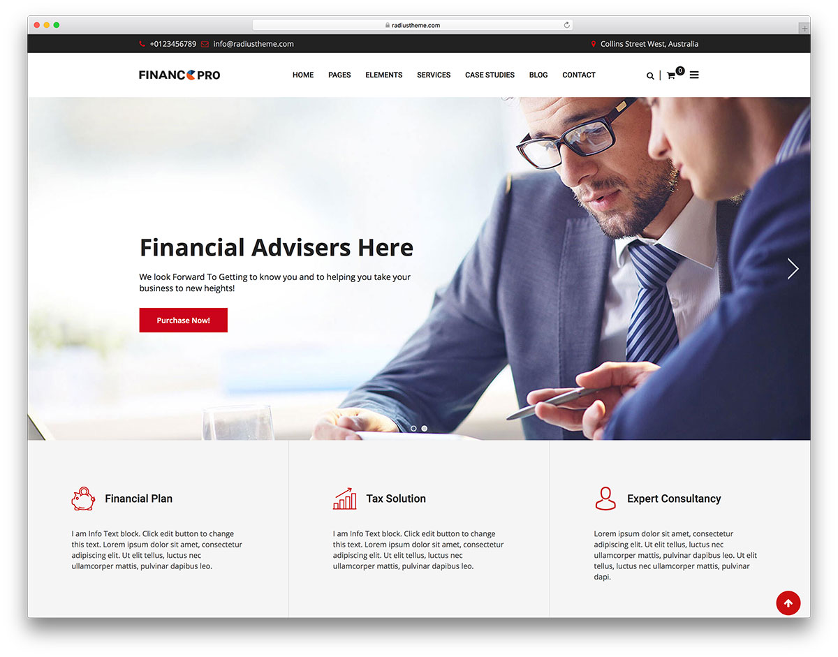 20 best business consulting wordpress themes 2018 colorlib finance pro is a wordpress theme oriented to consulting business and finances everything about money making is up to the task it makes a perfect fit for wajeb Gallery
