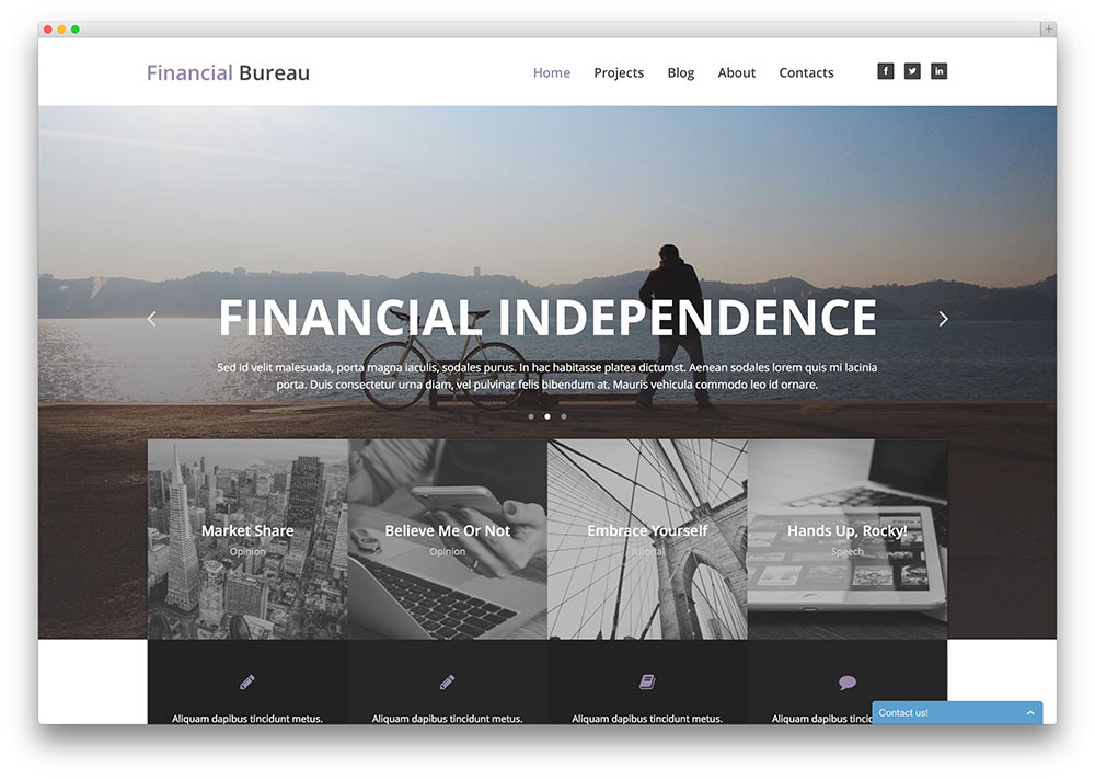 Financial company parallax theme