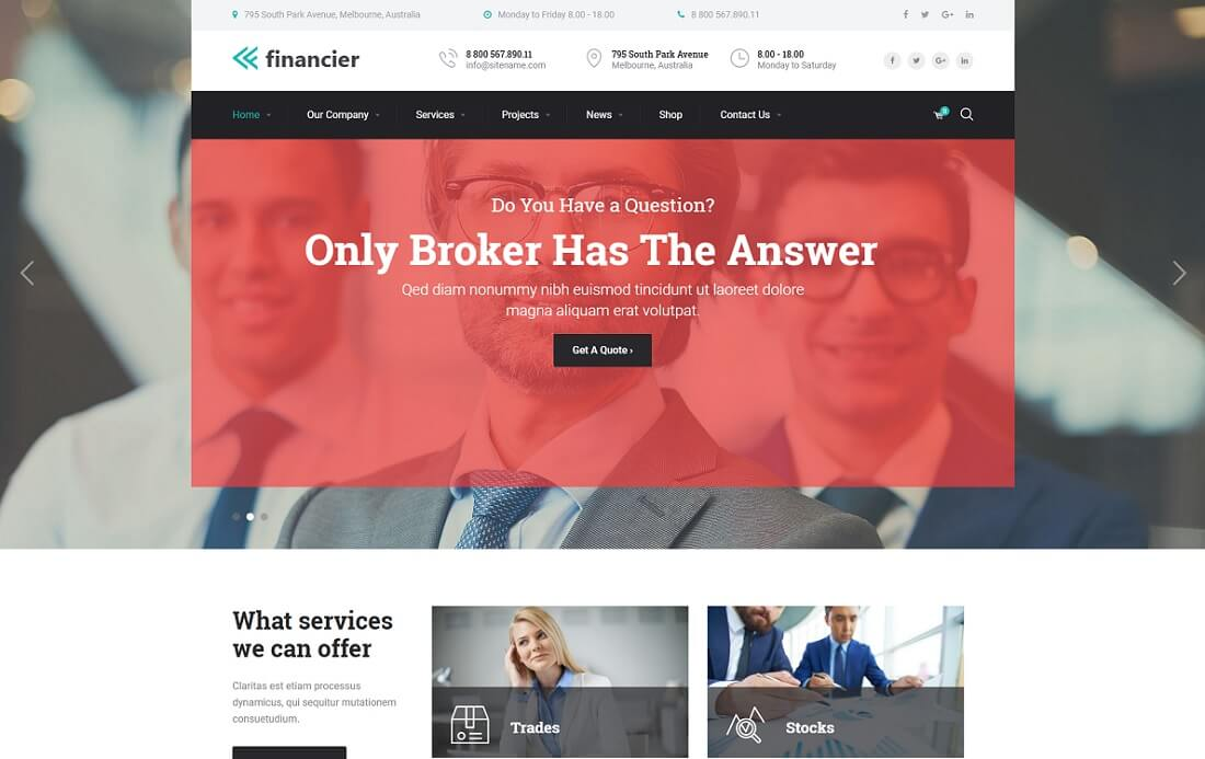 financier cryptocurrency wordpress theme