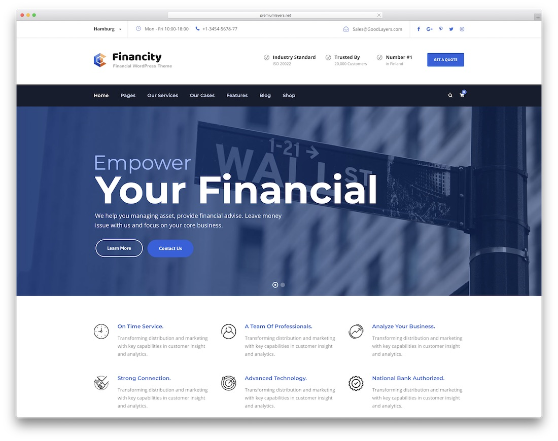 financity interactive website template