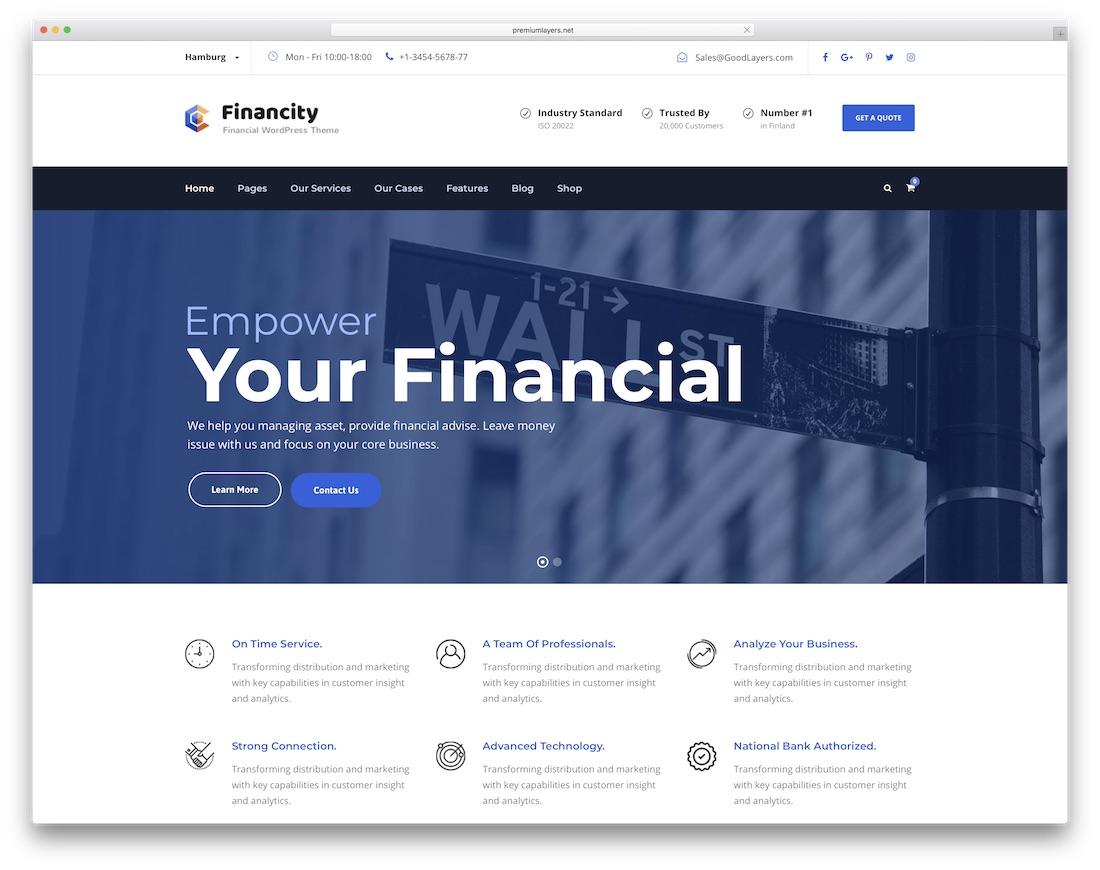 financity interactive website template