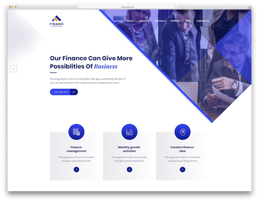 finano financial website template
