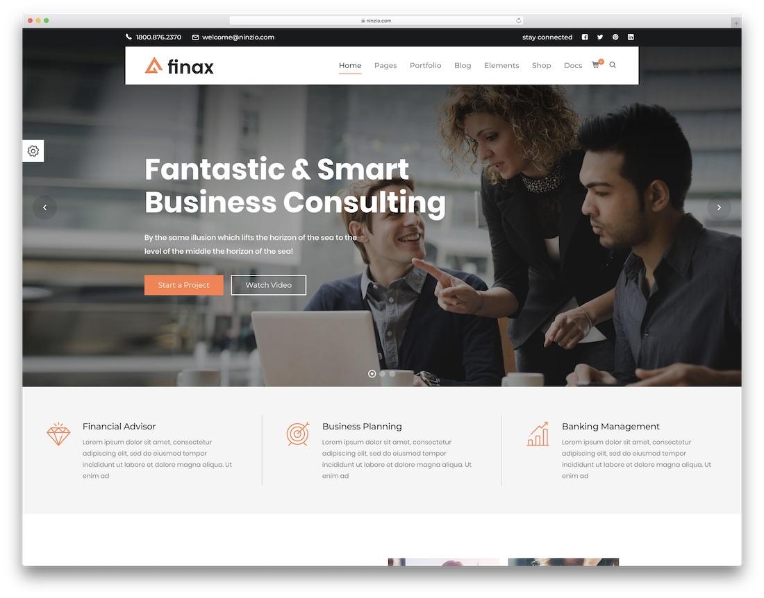 finax consulting wordpress theme