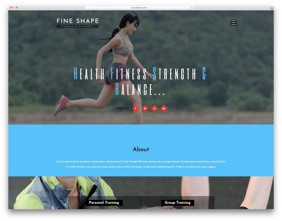 fine shape free fitness website template