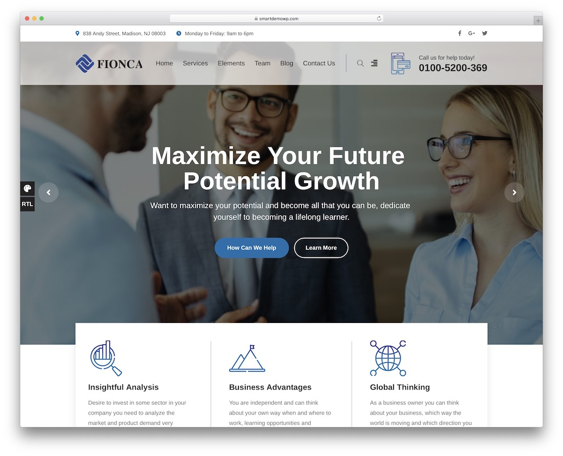 fionca business and finance website template