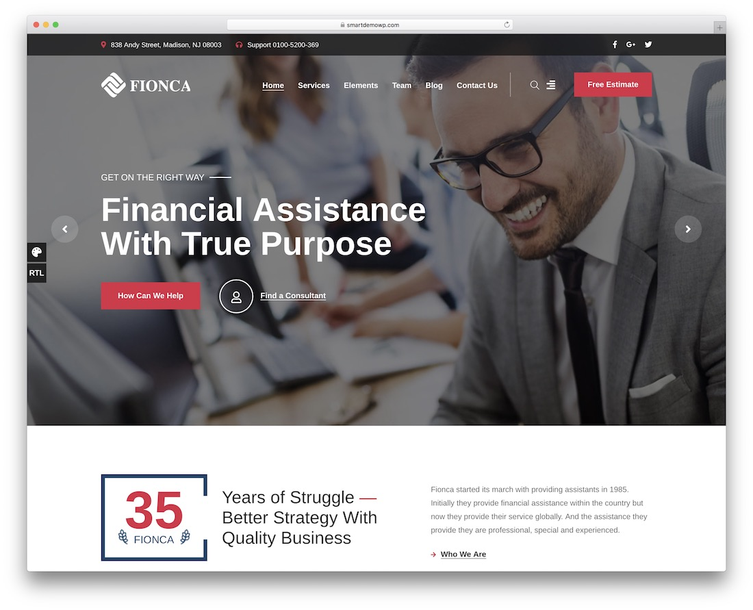 fionca financial company wordpress theme