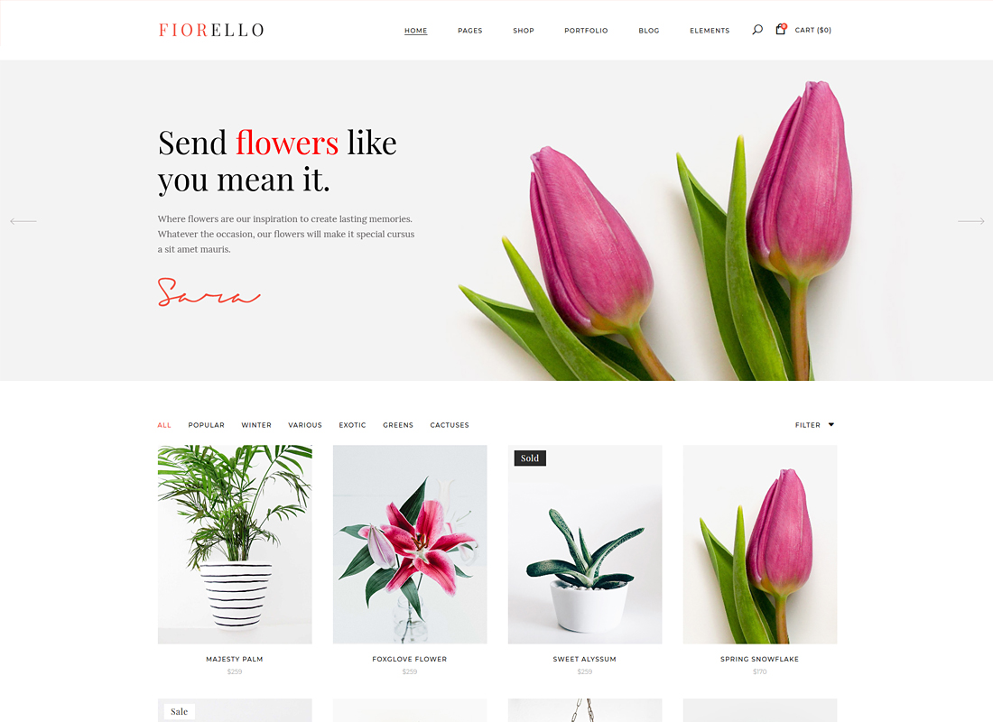 Fiorello | A Flower Shop and Florist WooCommerce WordPress Theme