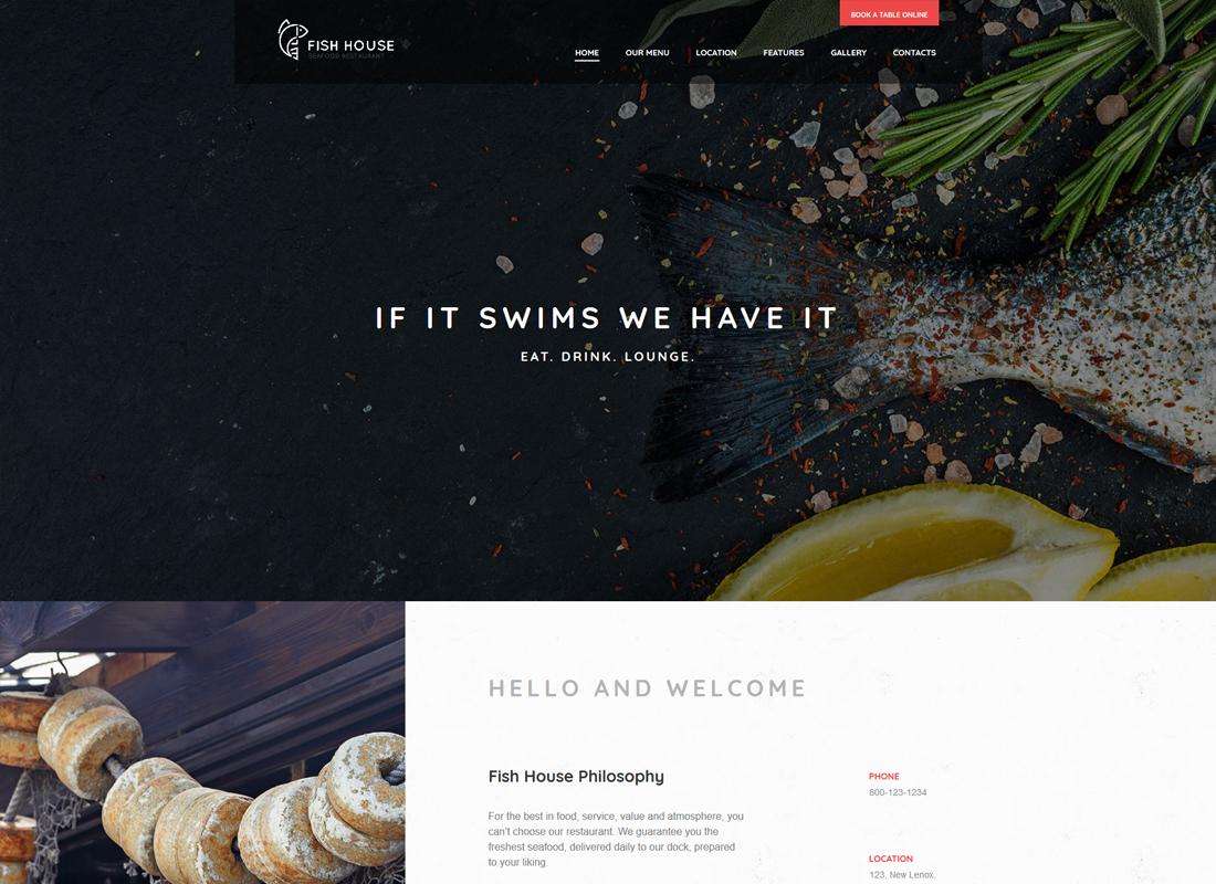 Fish House - A Stylish Seafood Restaurant / Cafe / Bar WordPress Theme