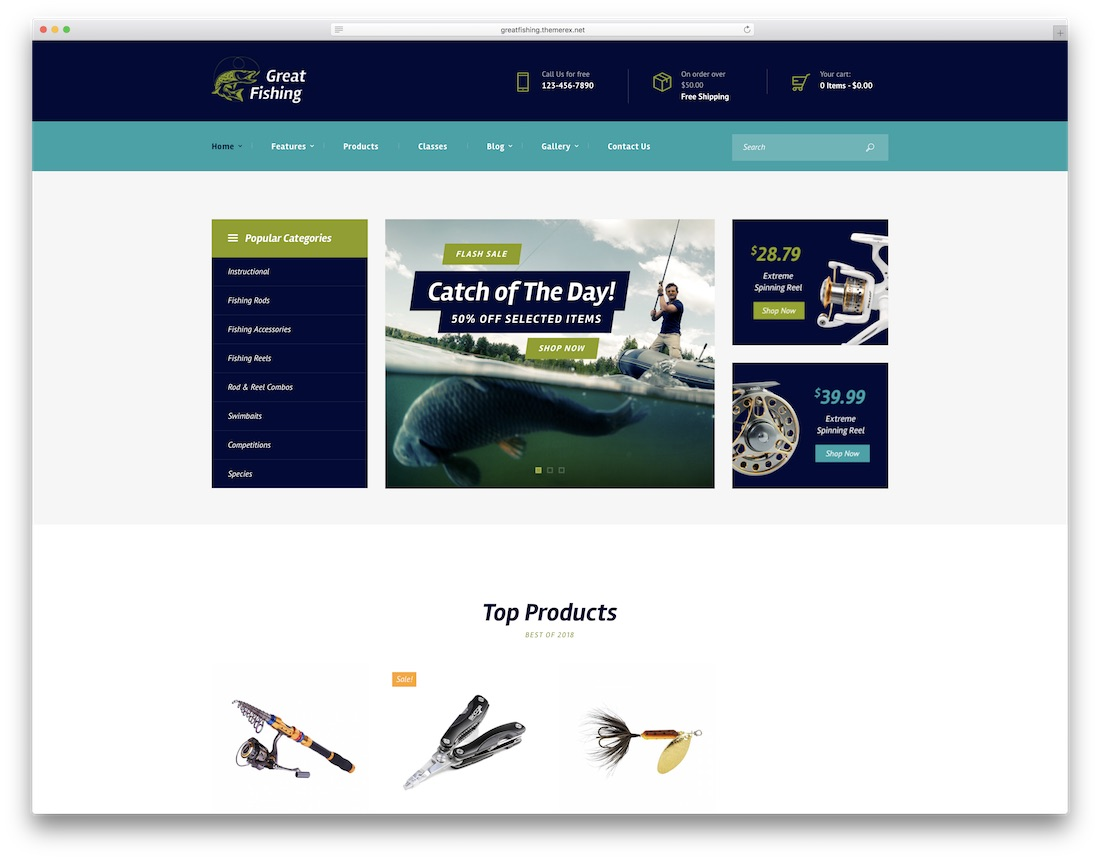 fishing and hunting wordpress fishing theme