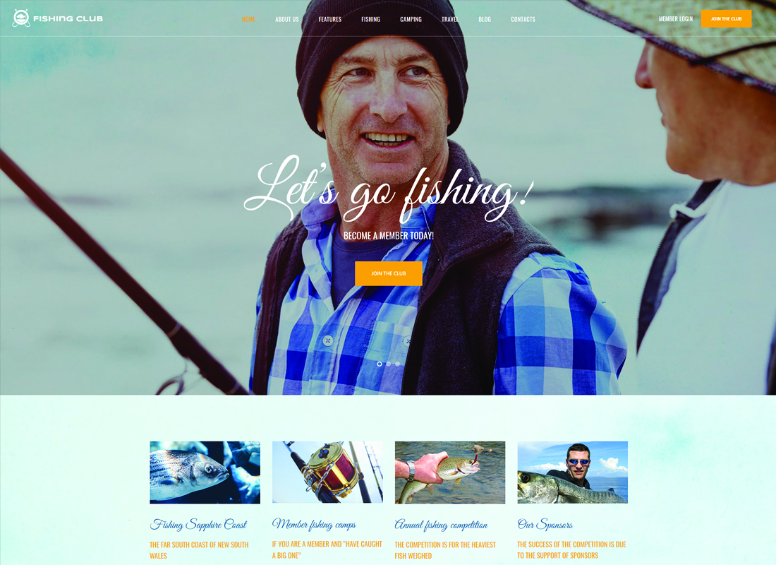 Fishing and Hunting Club WordPress Theme