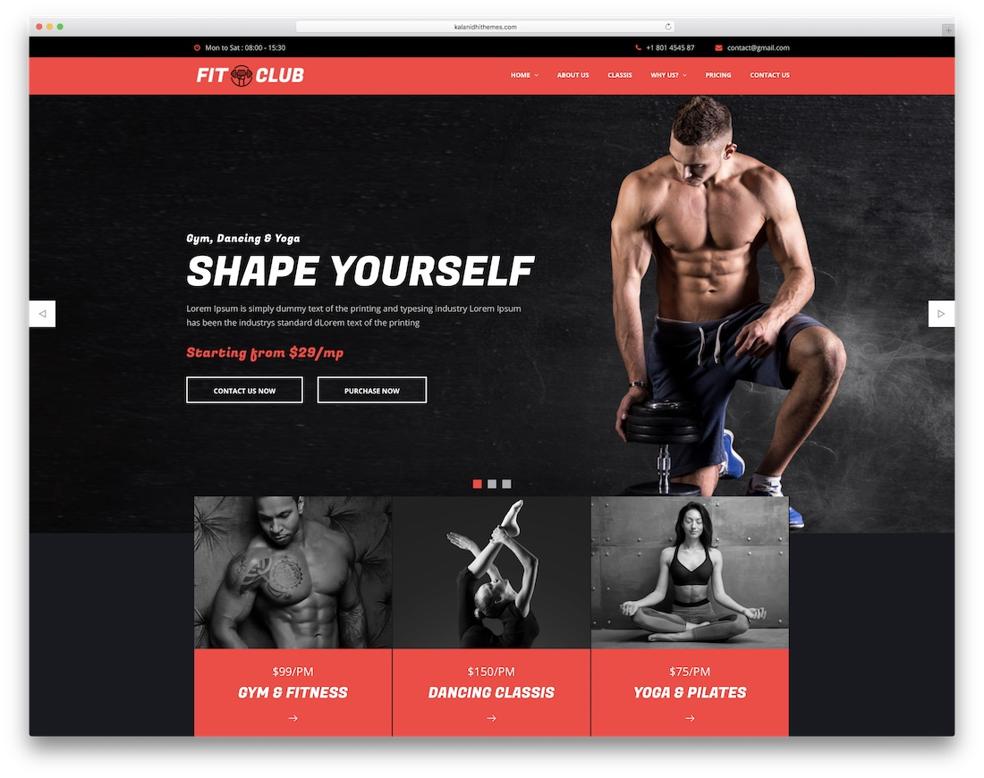 fitclub community website template