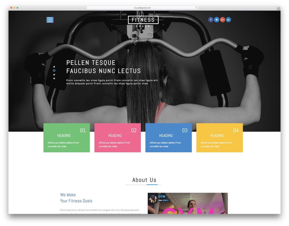 fitness goals free website template
