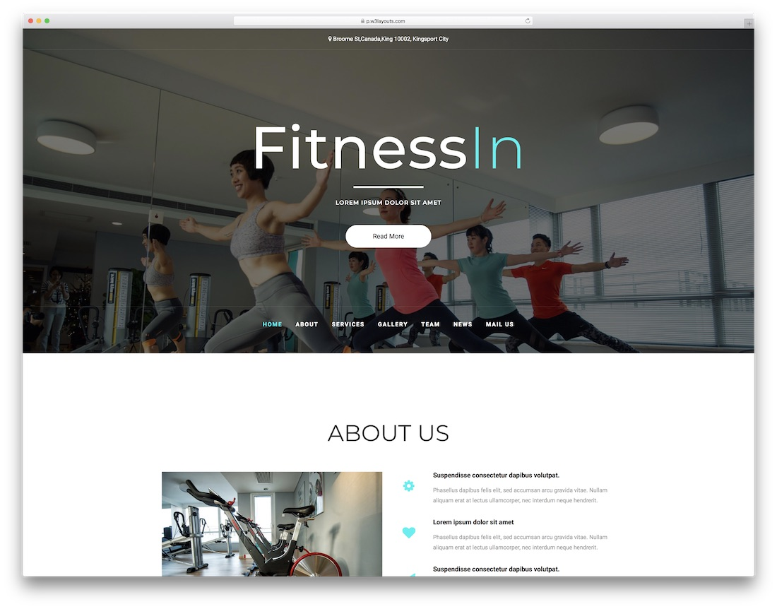 fitness in free website template