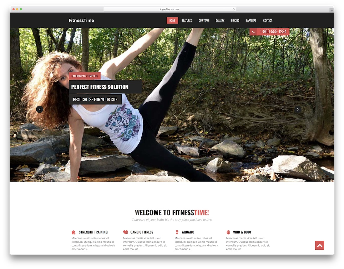 fitness time free website template