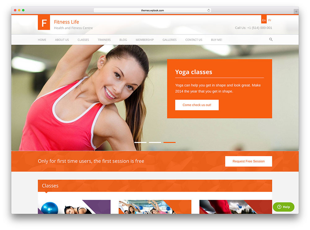 fitnesslife yoga club wordpress theme