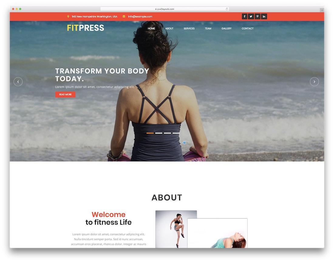 fitpress free fitness website template