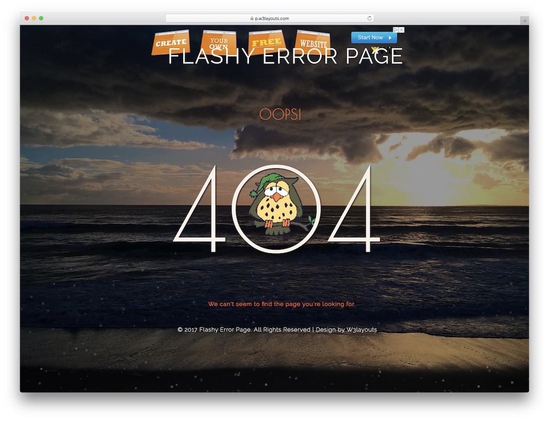 flashy free 404 error page template