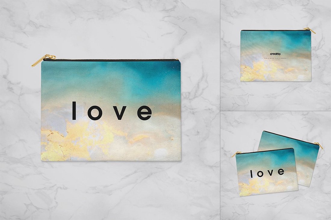 flat canvas pouch mockup set