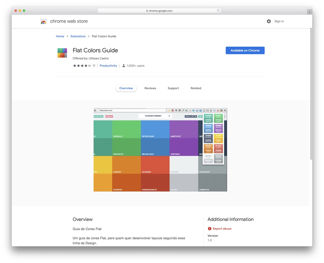 flat colors guide chrome extension
