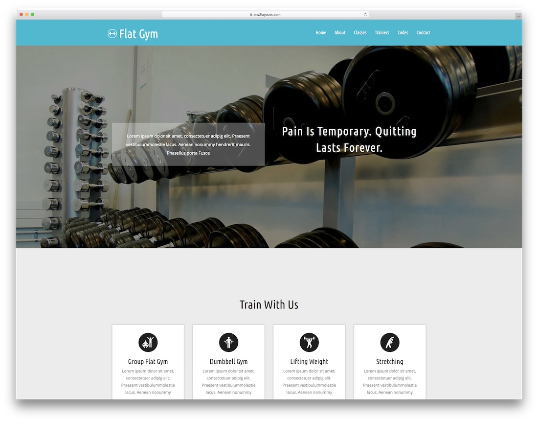 flat gym free fitness website template