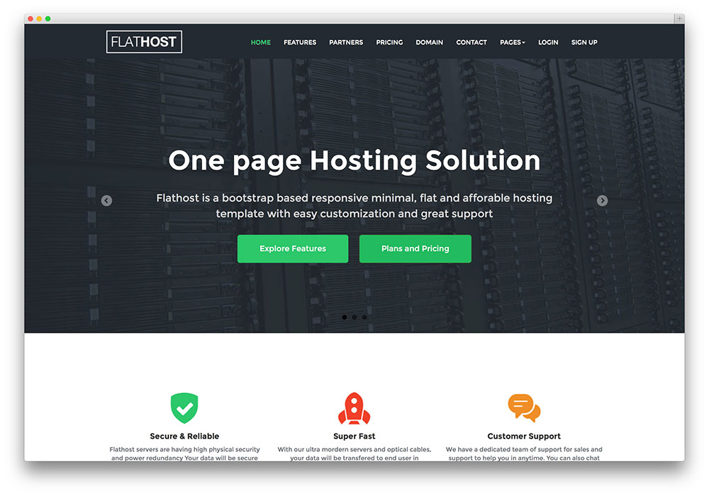 flathost - flat design hosting theme