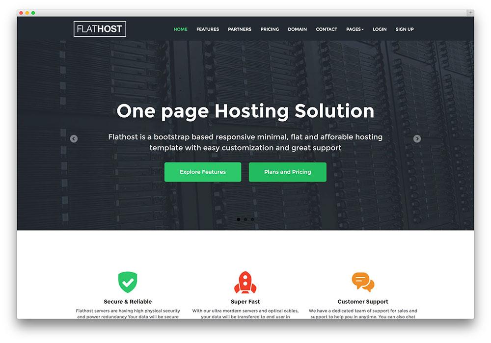 flathost - flat design hosting theme