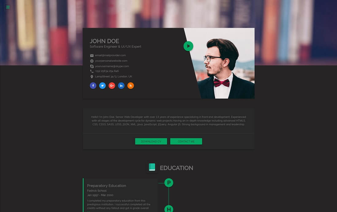 flatrica resume website template - Resume Web Template