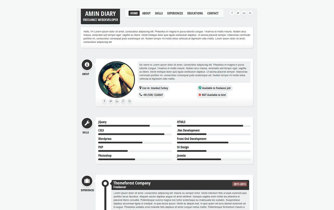 flatty HTML resume cv website template