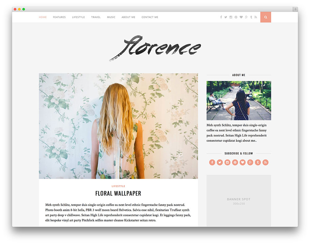 florence - adsense ready blog theme