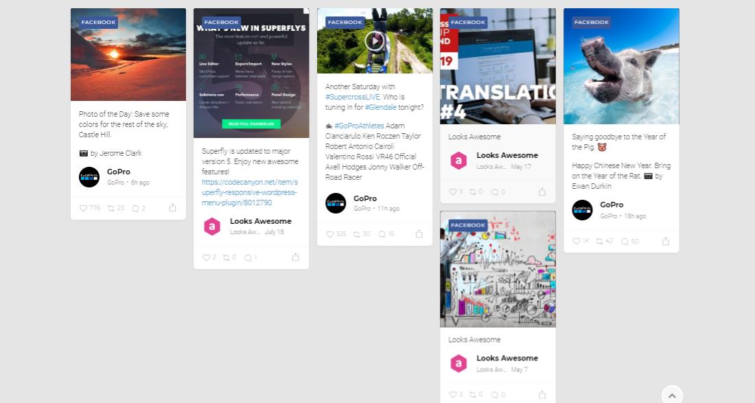 Columned WordPress Facebook Feed Plugins