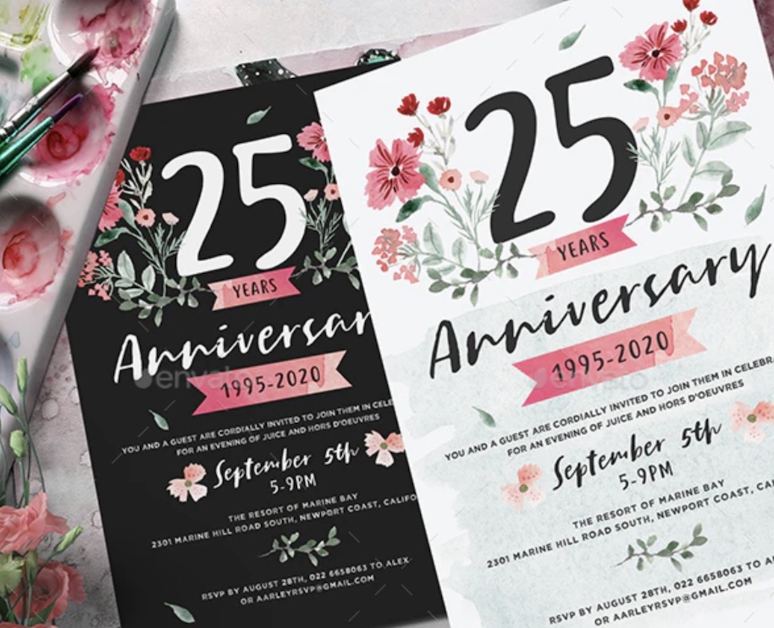 flower anniversary invitation