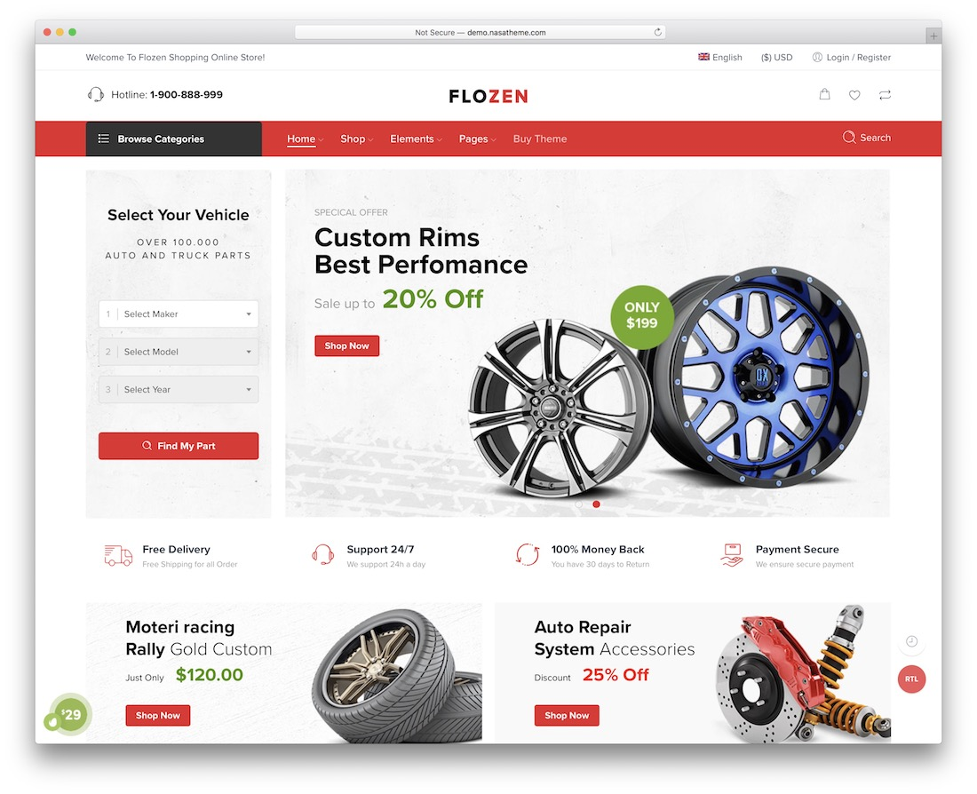 flozen auto service wordpress theme