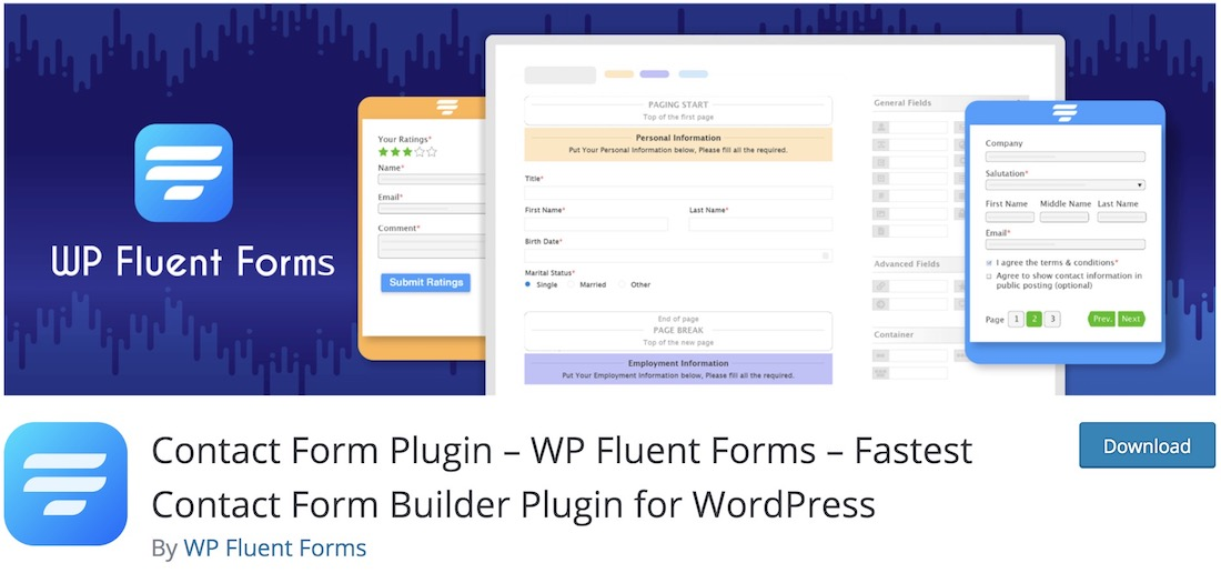 fluentform free contact form wordpress plugin