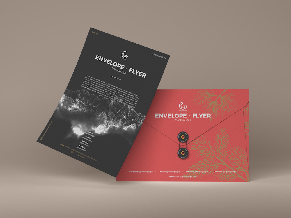 flyer envelope design psd mockup