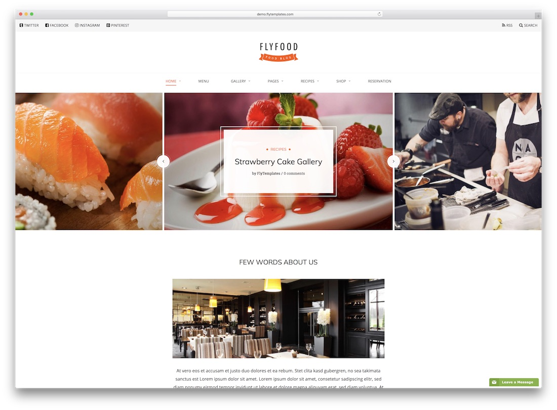 flyfood catering wordpress theme
