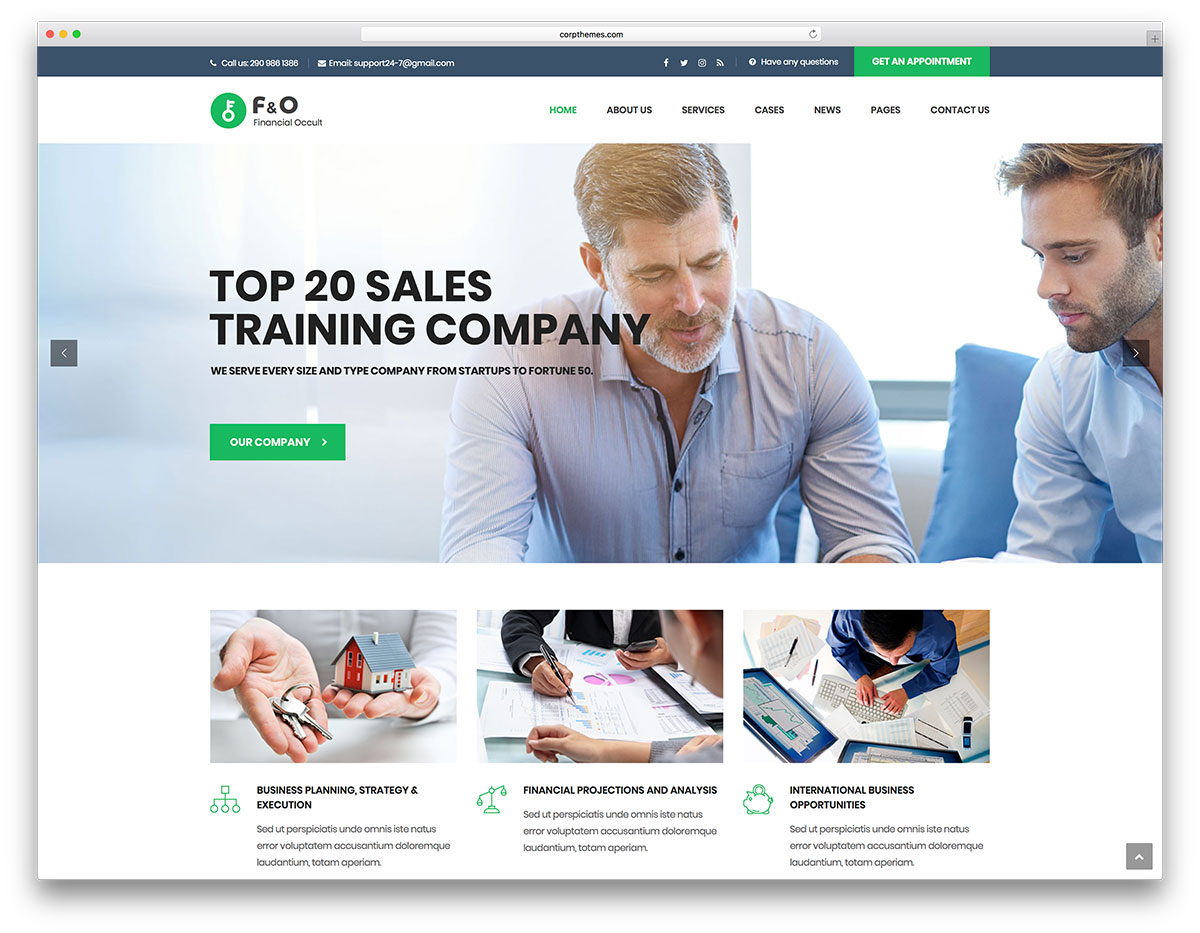 20 best business consulting wordpress themes 2018 colorlib fo is a finance business and consulting specialized wordpress theme the creators made this professionally oriented design for high level companies wajeb