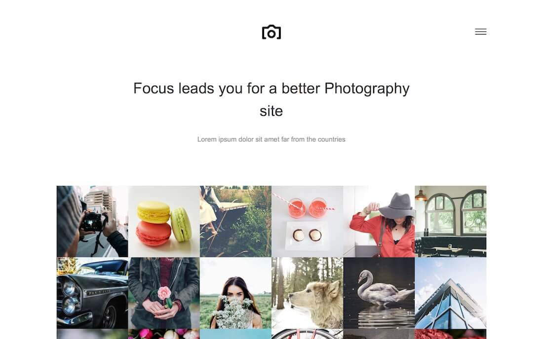 focus free photography website template