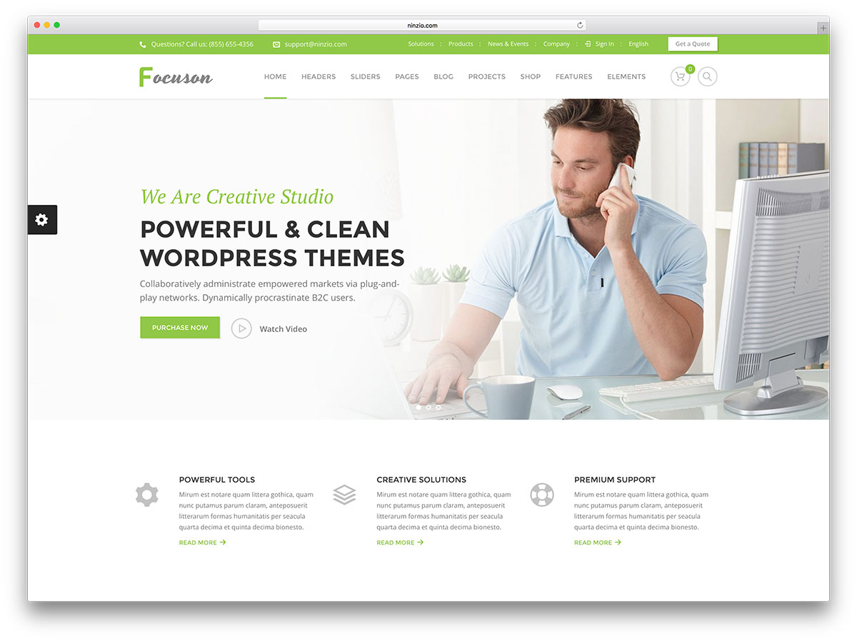 64 best clean wordpress themes 2018 colorlib focuson green wordpress business website template wajeb